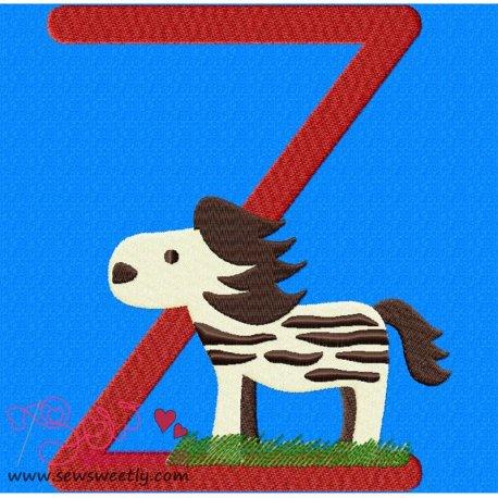 Animal Letter-Z- Zebra Machine Embroidery Design For Kids