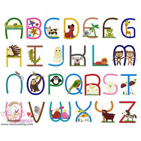 Animals Font Full Set Machine Embroidery Design For Kids