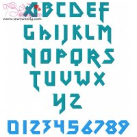 Techno Metal Embroidery Font Set