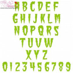 Green Fuz Embroidery Font Set