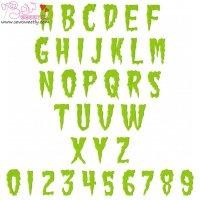 Green Fuz Embroidery Font Set