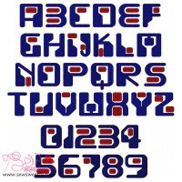 Funky Round Embroidery Font Set