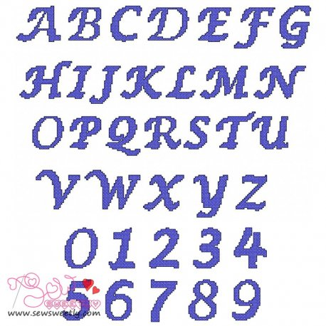 Cross Stitch Embroidery Font Set Machine Embroidery Design Including All Alphabets And Numbers.