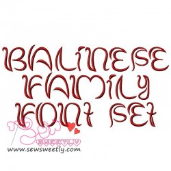 Balinese Family Embroidery Font Set Machine Embroidery Design Including All Alphabets And Numbers.