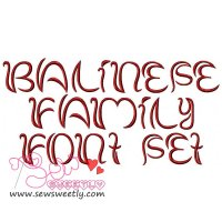 Balinese Family Embroidery Font Set