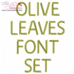 Olive Leaves Embroidery Font Set