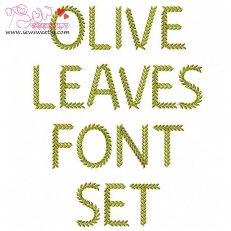 Olive Leaves Embroidery Font Set Pattern- Category- Embroidery Fonts- 1