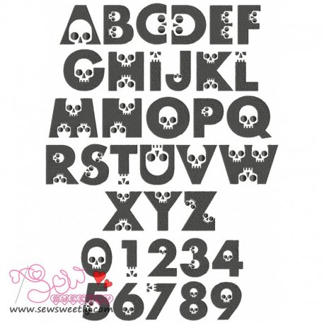 Skull Embroidery Font Set Machine Embroidery Design Including All Alphabets And Numbers.