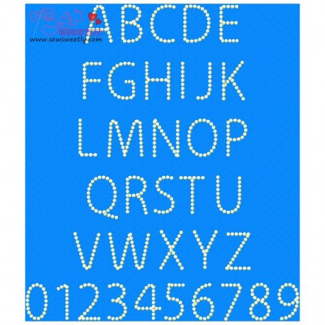 Pearl Embroidery Font Set Machine Embroidery Design Including All Alphabets And Numbers.