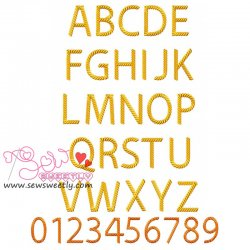 Rope Embroidery Font Set Machine Embroidery Design Including All Alphabets And Numbers.