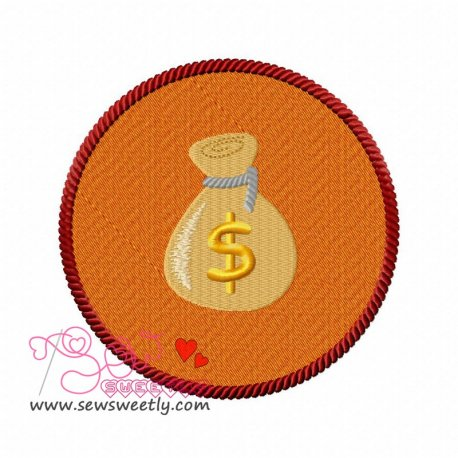 Money Bag Machine Embroidery Design For Kids