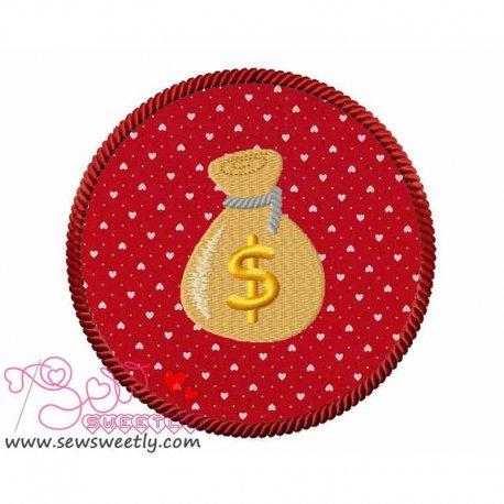 Money Bag Machine Applique Design For Kids