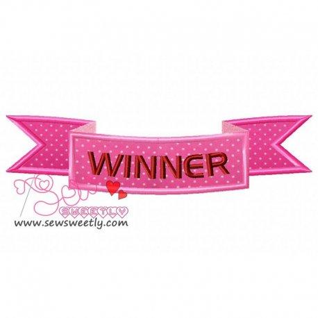Winner Ribbon Applique Design Pattern- Category- Other Designs- 1