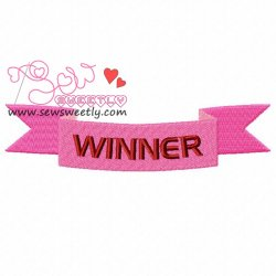 Winner Ribbon Embroidery Design