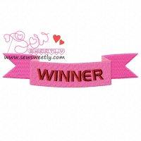 Winner Ribbon Embroidery Design
