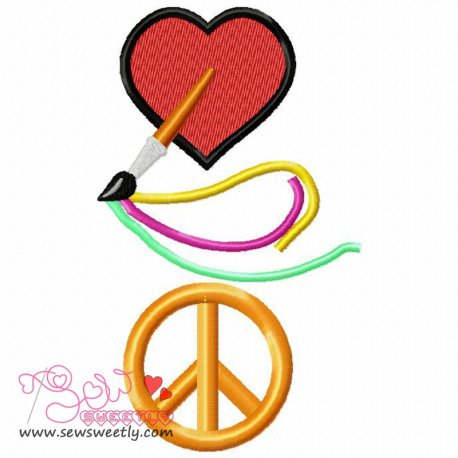 Love Art Peace Machine Embroidery Design For Kids