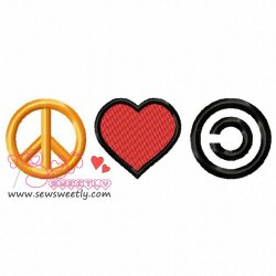 Peace Love Community Embroidery Design