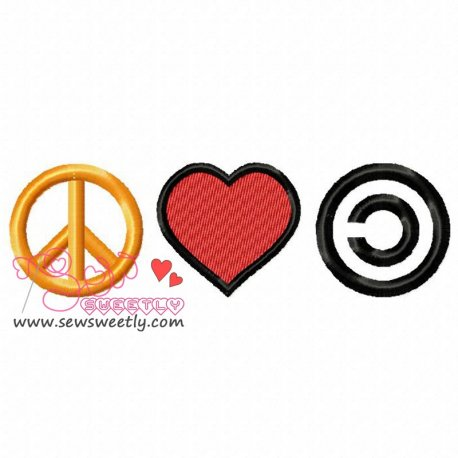 Peace Love Community Machine Embroidery Design For Kids