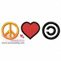 Peace Love Community Embroidery Design