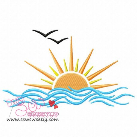 Sunset Machine Embroidery Design For Kids