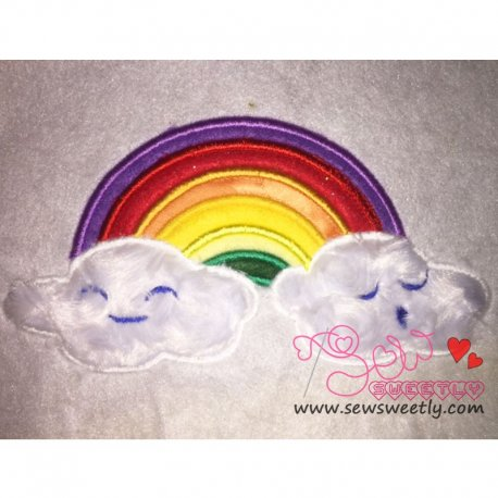 Rainbow With Clouds Machine Applique Design For Kids