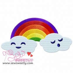 Rainbow With Clouds Embroidery Design