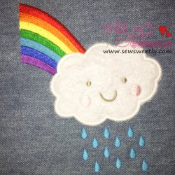 Rain Cloud With Rainbow Applique Design