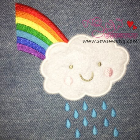 Rain Cloud With Rainbow Machine Applique Design For Kids