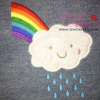 Rain Cloud With Rainbow Applique Design