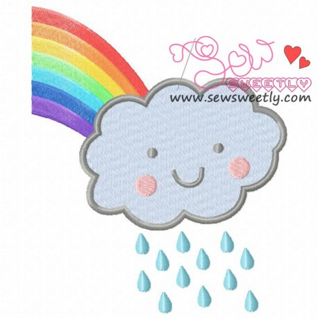 Rain Cloud With Rainbow Machine Embroidery Design For Kids