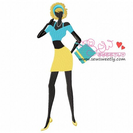 Shopping Lady-2 Embroidery Design Pattern- Category- Other Designs- 1
