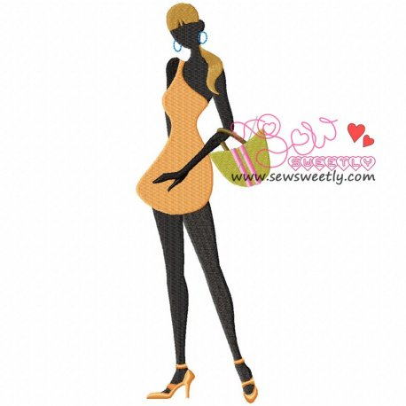 Shopping Lady-1 Machine Embroidery Design For Girls