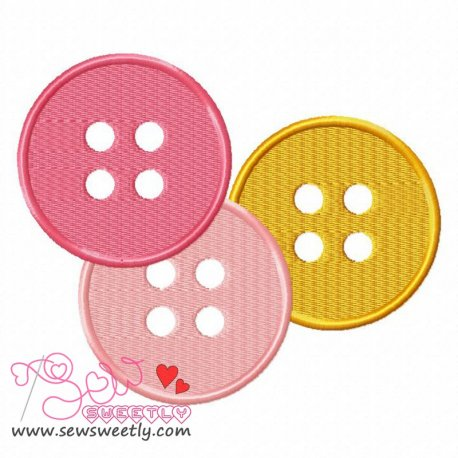 Buttons-2 Machine Embroidery Design For Kids