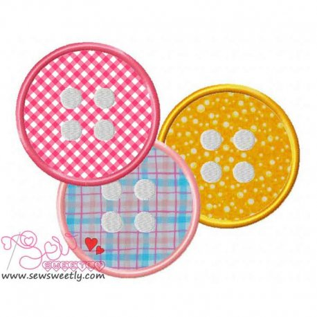 Buttons-2 Machine Applique Design For Kids
