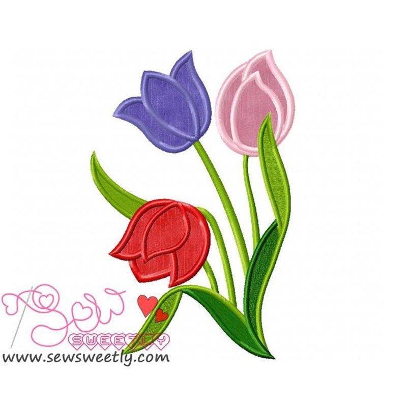 Spring Flowers Machine Applique Design