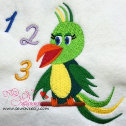 Talking Parrot-2 Embroidery Design