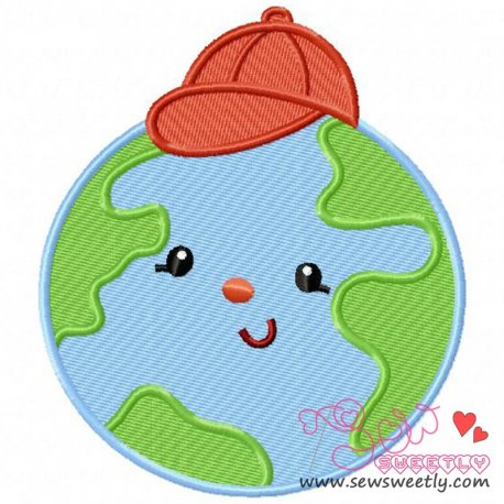 Earth Boy Machine Embroidery Design For Earth Day.