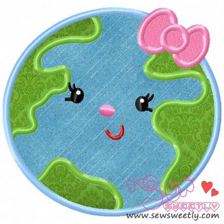 Earth Girl Machine Applique Design For Earth Day.