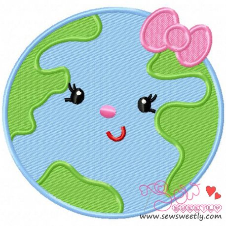 Earth Girl Machine Embroidery Design For Earth Day.