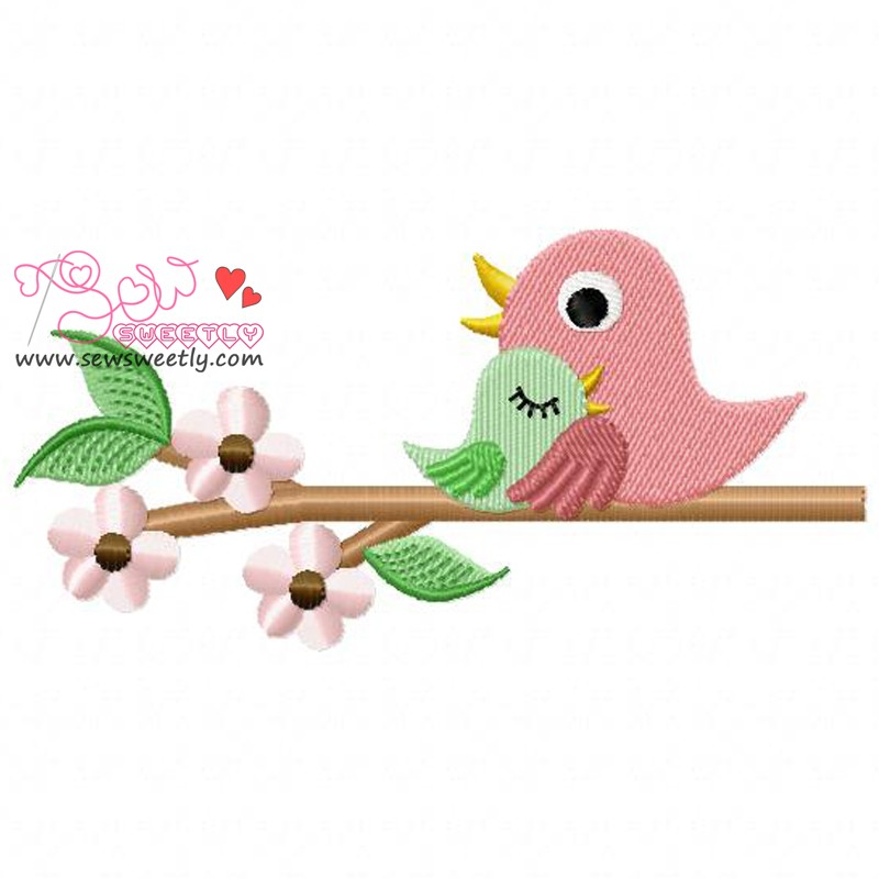 Mom And Baby Bird Machine Embroidery Design