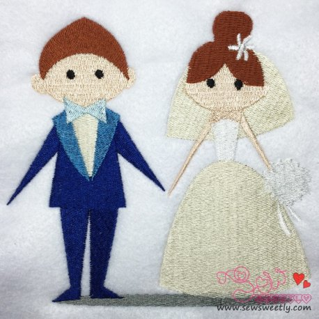 Happy Wedding-2 Embroidery Design For Bride And Groom