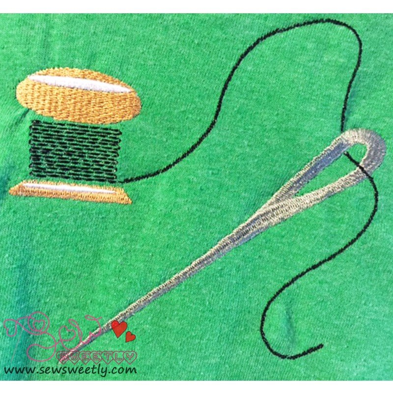 Thread with needle embroidery design