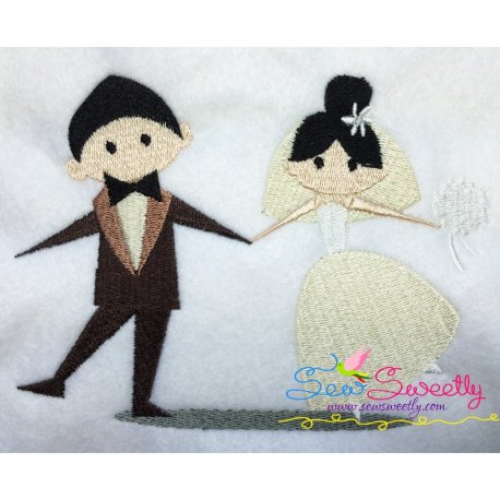 Happy Wedding-1 Machine Embroidery Design For Bride And Groom