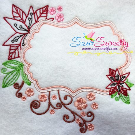Floral Frame-5 Machine Embroidery Design Best For Pillows And Framing With Quotes.