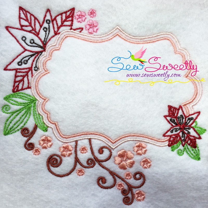Floral frame machine embroidery design