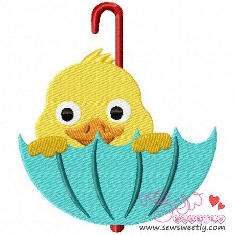 Duck Peeking Machine Embroidery Design For Kids And Rainy Season.