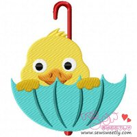 Duck Peeking Embroidery Design