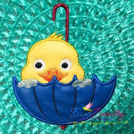 Duck Peeking Machine Applique Design For Kids And Rainy Season.