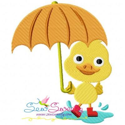 Duck Umbrella Embroidery Design
