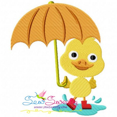 Duck Umbrella Machine Embroidery Design For Kids And Rainy Season.